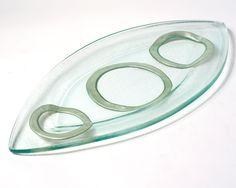 Silver Oval Geometrik Tray