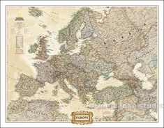 The Executive political map of Europe is a striking example of the cartographic excellence National Geographic is known for. The antique color palette,. National Geographic Maps, World Map Wallpaper, Old Libraries, Chamonix, Europe, Wall Maps, Picture Wall, Wall Art Prints, Vintage World Maps