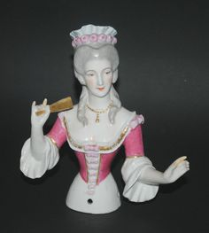 RARE LARGE ANTIQUE GERMAN OR FRENCH PORCELAIN HALF DOLL FIGURINE ROCOCO LADY FAN
