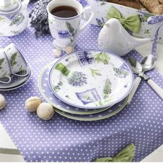 Spring Blossoms In Purple Lavender Cottage, Lavender Fields, Table Place Settings, Shades Of Violet, Lilac, Purple, Periwinkle Blue, English House, Tea Art