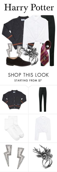 """Harry Potter"" by megan-vanwinkle ❤ liked on Polyvore featuring Yves Saint Laurent, Hue, T By Alexander Wang, Elope, Tessa Packard, Mulberry, Manolo Blahnik and harrypotter"