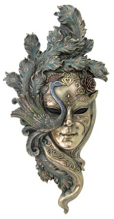 New Large - Lady Peacock Venetian Style Carnival Mask Wall Decor by francescaskitchen TL. - this exquisite and incredibly detailed plaque is an artful rendition of Venice Carnival mask. Statues, Peacock Mask, Peacock Tattoo, Costume Venitien, Venice Mask, Beautiful Mask, Venetian Masks, Venetian Mask Tattoo, Venetian Masquerade