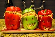 Halloween Stuffed Peppers Do the pepper carving and you're all set to stuff them with whatever Halloween recipe you like. Just not the large ones of course, just those would fit these wonderful peppers! Like in the sample below, those are yummy spaghetti! Awesome Halloween Stuff Peppers!
