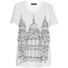 Burberry Prorsum London printed cotton-jersey T-shirt (5 465 UAH) ❤ liked on Polyvore featuring tops, t-shirts, shirts, tees, burberry, white, short sleeved, short sleeve tops, white short sleeve t shirt and white short sleeve top