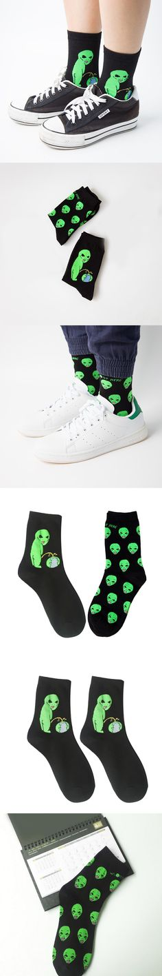 1 Pair High Quality Unisex Cartoon Cat Funny Alien Planet Comfortable Autumn Winter Creative Warm Cotton Halloween Party Socks