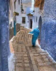 Woman walking in the medina