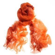 Flame Orange to Tangerine Gossamer Cashmere Shawl found on Polyvore