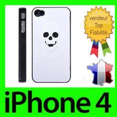COQUE BLANCHE IPHONE 4 4S TETE DE MORT CASE SKULL RIGIDE BLANC 3D DISPO ROSE Coque Iphone 4, Phone Cases, 3d, Electronics, Logos, Rose, Ebay, Skull, White People