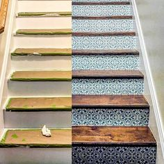 DIY painted staircase riser renovation ideas on a budget using easy to use tile stencil patterns from Cutting Edge Stencils for your dream home makeover