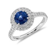 Sapphire and Diamond Pavé Double Halo Ring in White Gold ct) Sapphire Wedding Rings, Halo Diamond Engagement Ring, Diamond Rings, Gemstone Rings, Blue Nile Jewelry, Sapphire Jewelry, Gold Jewellery, Jewelry Box, Jewlery