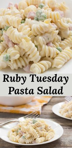 Quick and easy ranch pasta salad. like they serve at Ruby Tuesday. via Pear Tree… Quick and easy ranch pasta salad. like they serve at Ruby Tuesday. via Pear Tree Kitchen This Asian Pasta Salad haBroccoli Salad with CranbAutumn Chopped Chicken Sa Easy Pasta Salad, Pasta Salad Recipes Cold, Cold Pasta Dishes, Pasta Salad Ranch, Cold Pasta Salads, Macaroni Pasta Salad, Summer Pasta Salad, Pasta Food, Summer Salads