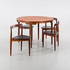 HANS OLSEN Matbord och stolar, 4 st, Frem Røjle, Danmark 1950-tal.