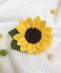 Felt Sunflower Hair Clip / Felt Sunflower Headband / Felt