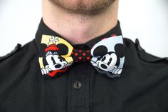 Handmade Mickey and Minnie Mouse Print Bow Tie