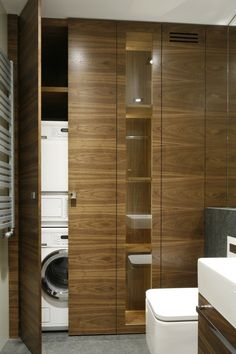 Stacked Washer Dryer, Washer And Dryer, Own Home, Small Bathroom, Toilet, Home Appliances, House Design, Houses, Small Shower Room