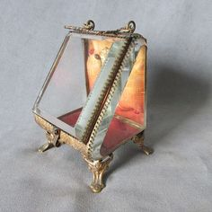 SOLD....19thC Victorian Beveled Glass Pocket Watch Holder, Jewelry Box