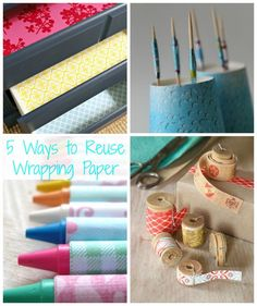 Never would have though of all these ways to use wrapping paper!! Great way to teach kids about reusing and helping the environment.