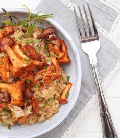Pfifferling-Risotto mit getrockneten Tomaten