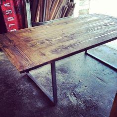 Custom Industrial City Farm Table by Ausden Inc | CustomMade.com