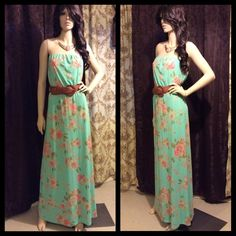 Beautiful Mint Turquoise Floral Maxi Rue 21 Dress So pretty!!! Stretchy. New with tags. It has belt loops so you can wear a dress belt with it. No accessories included. Gorgeous!!! Rue 21 Dresses Maxi