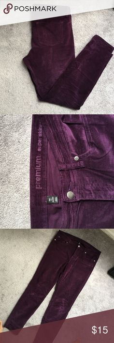 GAP skinny velvet pants Gorgeous and super unique eggplant colored velvet pants! Great condition and sooo comfortable! You'll be so happy for this purchase this winter! I loveeed these pants but they don't fit anymore :) GAP Pants Ankle & Cropped