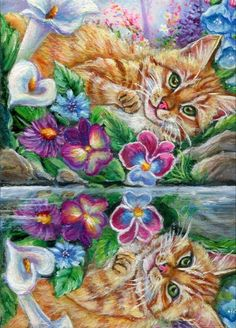 """ACEO LE Art Card Print 2.5x3.5/"""" Cat And Frog/"""" Cute Cat Animal Art by Patricia"""