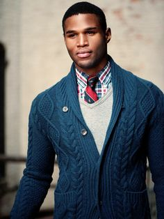 layering, color and knit of cardigan, simple gray solid added in to mute the noise of patterns