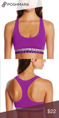 Calvin Klein Women's Magnetic Force Bralette Dual color wide Metallic logo band; racer back; tag less; scoop neckline; color: bold violet heather Calvin Klein Underwear Intimates & Sleepwear Bras