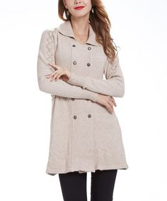 Look what I found on #zulily! Beige Double-Breasted Cardigan #zulilyfinds