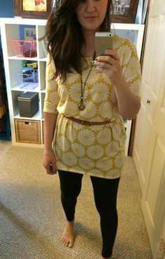 Belting the Irma tunic helps define the waist and takes this super casual LuLaRoe Leggings combo into bonafide socially acceptable outfit!