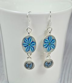 Blue flower and butterfly  polymer clay silver plated by NuritNaor, $17.00