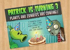 Plants VS Zombies Birthday Party Invitation by cutiesparties.com $5.00
