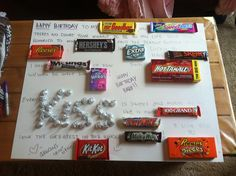 Birthday candy board