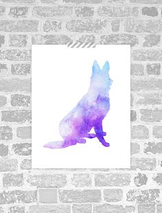 Watercolor German Shepherd Print - Instant Download Wall Art  __________________________    ♦ What do you receive? ♦  An 8x10 inch printable
