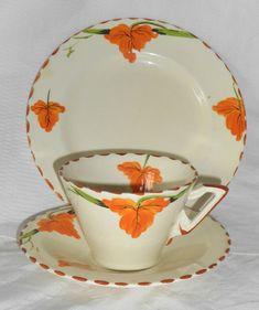 Burleigh Ware Art Deco Zenith Autumn Leaves trio Cup Saucer Plate 1930's #CoffeeCupSaucer