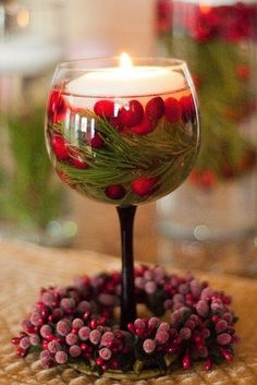 Wine Glass with Cranberries, Pine Twigs, and a Floating Candle | Christmas Special