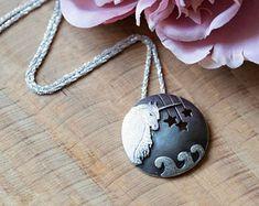 Unicorn pendant | Etsy Handmade Sterling Silver, Sterling Silver Bracelets, Blue Chalcedony, Fantasy Jewelry, Unicorn, Pendant Necklace, Gemstones, Silver Jewellery, Wave