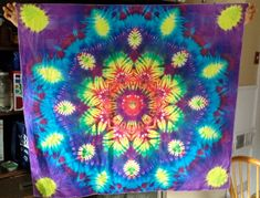 Silk Snowflake Tie Dye Tapestry by LucysTieDyes on Etsy, $35.00