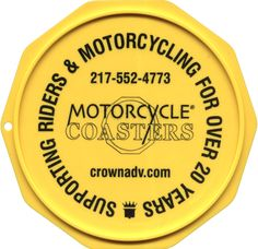 The Original Custom Imprinted Motorcycle Coaster® Coasters, Plates, Prints, Motorcycle, Ink, Yellow, Check, Color, Licence Plates