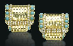 A PAIR OF RETRO TURQUOISE AND DIAMOND BROOCHES, BY VAN CLEEF & ARPELS   Each scrolling brick-link clip enhanced by diamonds and cabochon turquoises, 1950s, 3.3 cm, with French assay mark for gold  Signed Van Cleef & Arpels, no. 45.189