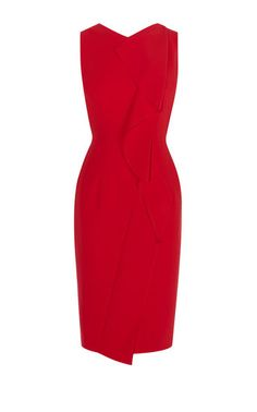 Karen Millen, SUBTLE RUFFLE DRESS Red