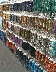 Rows and rows of beads at the 2014 Tucson Gem and Mineral show