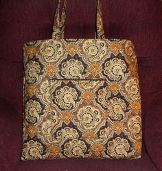 Reserved for Valerie Black Brown Gold Sparkle Quilted Tote Quilted Book Bag by RoxannasBags on Etsy
