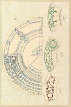 Королевская посуда. Акварельные эскизы. Ч -I - Орнамент и стиль в ДПИ