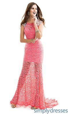 Floor Length Lace Prom Dress at SimplyDresses.com