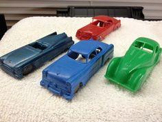 VTG MARX 1950's Plastic Service Station Set 4 Cars Desoto Buick Ford Jaguar #MarxSears #FordBuickDesotoJaguar