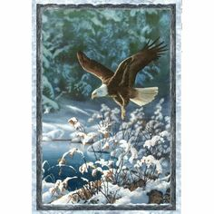 "Wilmington Prints Winter Whispers 38511-412 Flying Eagle Panel 29""xwof"