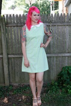 Gertie's New Blog for Better Sewing: Lime Gingham Mini Shift Finished!