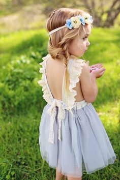 It's all about the details with this delicate dress. Lace, tulle, a lovely bow, eyelet details and dainty buttons set this dress apart! The straps have three button holes for easy adjustment and gives Fashion Kids, Little Girl Fashion, Little Girl Dresses, Toddler Fashion, Little Girl Style, Latest Fashion, Flower Girls, Flower Girl Dresses, Toddler Dress