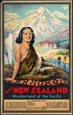 c.1930s  Visit New Zealand Maori Wonderland by InterestingPhotos, $7.75